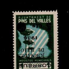 Sellos: G9I GUERRA CIVIL VIÑETAS DE PINS DEL VALLES (BARCELONA) IMPOSTOS MUNICIPALS FESOFI Nº 9I SOBRECAR. Lote 116480643