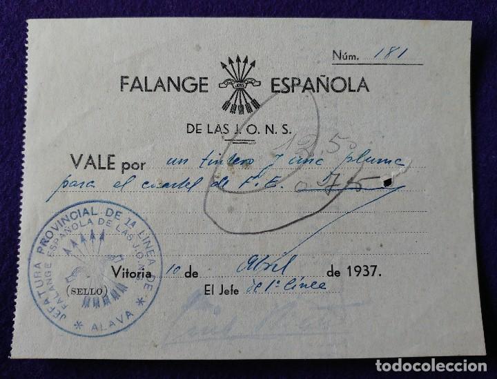 RARO VALE FALANGE ESPAÑOLA DE LAS J.O.N.S. VITORIA 1937. CON SELLO. ORIGINAL. BILLETE GUERRA CIVIL. (Sellos - España - Guerra Civil - De 1.936 a 1.939 - Usados)