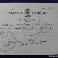 Sellos: RARO VALE FALANGE ESPAÑOLA DE LAS J.O.N.S. VITORIA 1937. CON SELLO. ORIGINAL. BILLETE GUERRA CIVIL.. Lote 116690575