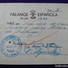 Sellos: RARO VALE FALANGE ESPAÑOLA DE LAS J.O.N.S. VITORIA 1937. CON SELLO. ORIGINAL. BILLETE GUERRA CIVIL. Lote 116690735