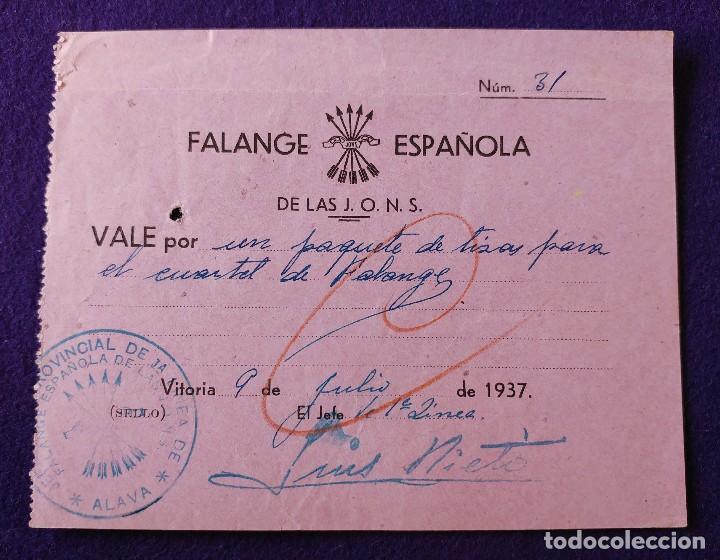 RARO VALE FALANGE ESPAÑOLA DE LAS J.O.N.S. VITORIA 1937. CON SELLO. ORIGINAL. BILLETE GUERRA CIVIL (Sellos - España - Guerra Civil - De 1.936 a 1.939 - Usados)