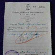 Sellos: RARO VALE FALANGE ESPAÑOLA TRADICIONALISTA DE LAS J.O.N.S. ALAVA 1937. BILLETE ORIGINAL GUERRA CIVIL. Lote 116691635