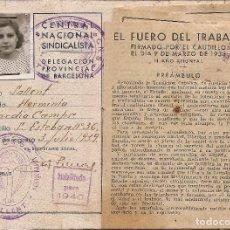 Sellos: 1939- CENTRAL NACIONAL SINDICALISTA. DELEG. PROV. DE BARCELONA. SALLENT -HOJA DE CUPONES VACIA- VER . Lote 116915635