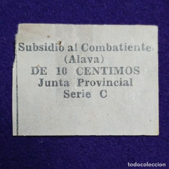 VIÑETA SUBSIDIO AL COMBATIENTE (ALAVA) DE 10 CENTIMOS.GUERRA CIVIL. SELLO. JUNTA PROVINCIAL. SERIE C (Sellos - España - Guerra Civil - Beneficencia)
