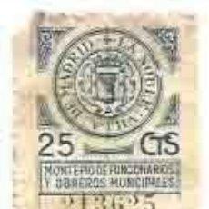 Sellos: LA NOBLE VILLA DE MADRID MONTEPIO DE FUNCIONARIOS Y OBREROS MUNICIPALES 25CTS. Lote 117071583