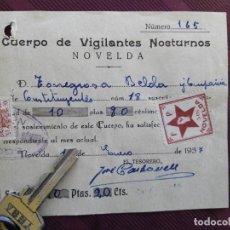 Sellos: CUERPO DE VIGILANTES NOCTURNOS - NOVELDA ENERO 1937 - VIÑETA PEGADA FRENTE POPULAR 5 CTMOS.. Lote 117184535
