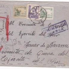 Timbres: CCM55- INTERESANTE CARTA HUESCA-JAVIER (NAVARRA)-SEVILLA . EJÉRCITO DEL SUR. 1939. Lote 117340735