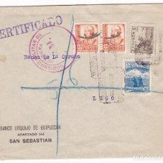 Sellos: CCM55- CERTIFICADO SAN SEBASTIÁN -LUGO 1938. CENSURA.CRUZADA FRÍO. SELLOS ISABEL MATASELLOS MUDO. Lote 117341155