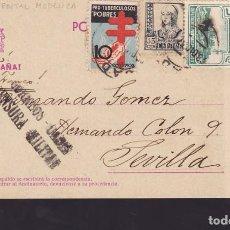 Sellos: CCM59-TARJETA MODELICA CADIZ-SEVILLA 1937.CENSURA.LOCAL Y VARIEDAD TUBERCULOSOS. Lote 117343631