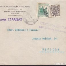 Sellos: CM1-76-CARTA SANLÚCAR DE BARRAMEDA-SEVILLA 1937. CENSURA, LOCAL Y FISCAL POSTAL. Lote 117357995