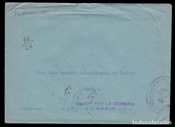 ** CARTA 1936 JACA-SAN SEBASTIÁN. BRIGADA ARTILLERÍA REGIMIENTO JACA, CENSURA MILITAR JACA ** (Sellos - España - Guerra Civil - De 1.936 a 1.939 - Cartas)