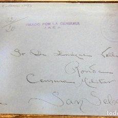 Sellos: CARTA 1938 JACA-SAN SEBASTIÁN. BRIGADA ARTILLERÍA REGIMIENTO JACA, CENSURA MILITAR JACA. Lote 118195383
