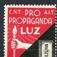 Sellos: VIÑETA REPUBLICANA ANARQUISTA CNT-AIT. PRO PROPAGANDA LUZ - CULTURA 0,25 CTS.. Lote 118202679
