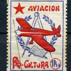 Sellos: VIÑETA REPUBLICANA AVIACIÓN PRO-CULTURA 1 PTA.. Lote 118203271