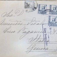 Sellos: SOBRE GRAN HOTEL DE SAN SEBASTIAN, 1938, CENSURA MILITAR. Lote 118345691