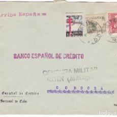 Sellos: CM2-1-CARTA COIN (MÁLAGA)- CÓRDOBA 1938 .TUBERCULOSOS, CENSURA Y RARA VIÑETA. Lote 118349683