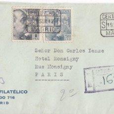 Sellos: CM2-3-CERTIFICADO MADRID-PARIS 1942. CENSURA MADRID Y FAJA CENSURA ALEMANA. Lote 118351691