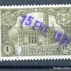 Sellos: EDIFIL 8 DE HUÉRFANOS DE TELÉGRAFOS. 1P. PALACIO COMERCIO DE BARCELONA. MATASELLO DE FECHA. Lote 180324151