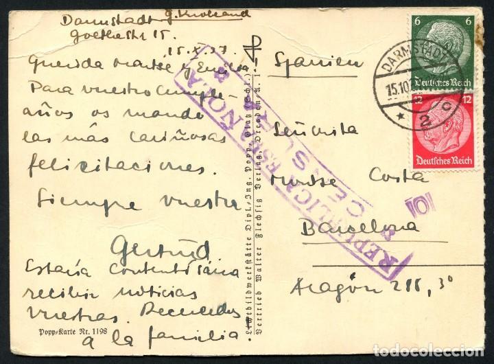 GUERRA CIVIL, TARJETA POSTAL, CIRCULADA DESDE ALEMANIA A BARCELONA, 1937 (Sellos - España - Guerra Civil - De 1.936 a 1.939 - Cartas)