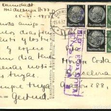 Sellos: GUERRA CIVIL, TARJETA POSTAL, CIRCULADA DESDE ALEMANIA A BARCELONA, 1937. Lote 118854539