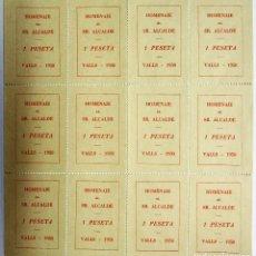 Sellos: VALLS (TARRAGONA) 1950. BLOQUE DE 12 VIÑETAS DE 1 PESETA COMO HOMENAJE AL SR. ALCALDE. LOTE 2018-1. Lote 119117423