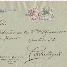 Sellos: CM1-8- GUERRA CIVIL. CARTA CORREO INTERIOR CALATAYUD (ZARAGOZA) 1937. CENSURA COMO MATASELLOS. Lote 119287039