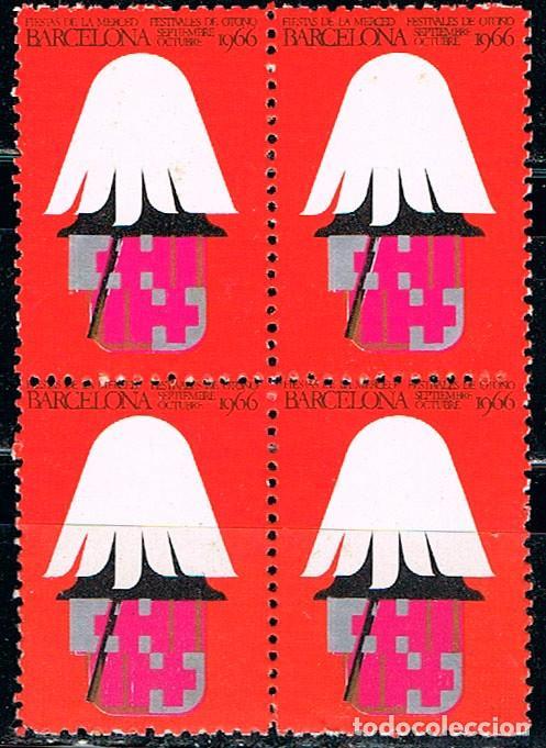 VIÑETA DE LA FERIA DE BARCELONA 1966, NUEVA *** EN BLOQUE DE 4 (Sellos - España - Guerra Civil - Viñetas - Nuevos)