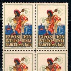 Sellos: VIÑETA DE LA FERIA DE BARCELONA 1929, NUEVA ***, BLOQUE DE 4. Lote 119568915