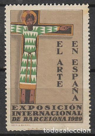 VIÑETA DE LA FERIA DE BARCELONA 1929, CRISTO, NUEVA *** (Sellos - España - Guerra Civil - Viñetas - Nuevos)