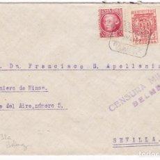 Sellos: CM3-2-GUERRA CIVIL CARTA BELMEZ CÓRDOBA- SEVILLA 1937. CENSURA. MATASELLOS PAQUETES POSTALES. Lote 120418423
