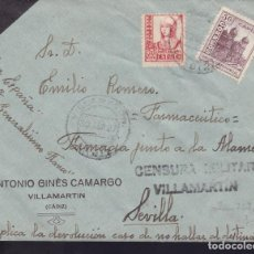 Sellos: CM3-5-GUERRA CIVIL CARTA VILLAMARTÍN CÁDIZ 1937. CENSURA Y LOCAL . Lote 120431579