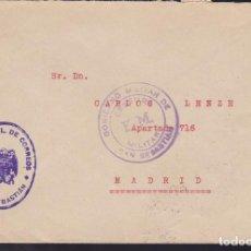 Sellos: CM3-8-GUERRA CIVIL. CARTA FRANQUICIA ADMON CORREOS SAN SEBASTIÁN 1939. CENSURA . Lote 120433459