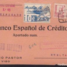 Sellos: CM3-10-GUERRA CIVIL. CERTIFICADO VIGO -HUELVA 1937. CENSURA, Y AUXILIO INVIERNO PAN. Lote 120434491