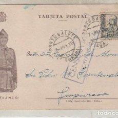 Sellos: TARJETA POSTAL FRANCO GUERRA CIVIL CENSURA MILITAR PORTUGALETE MARZO 1938. Lote 120434767