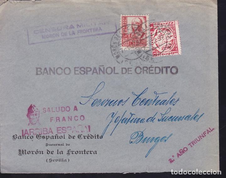 CM3-16-GUERRA CIVIL. CARTA MORÓN DE LA FRONTERA (SEVILLA)-BURGOS 1937. LOCAL Y CENSURA (Sellos - España - Guerra Civil - De 1.936 a 1.939 - Cartas)