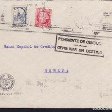 Sellos: CM3-23-GUERRA CIVIL. CARTA SEVILLA -HUELVA 1937. LOCAL Y CENSURAR EN DESTINO. Lote 120446823