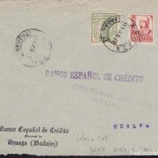 Sellos: CM3-24-GUERRA CIVIL. CARTA AZUAGA (BADAJOZ) -HUELVA 1937. LOCAL Y CENSURA. Lote 120447031