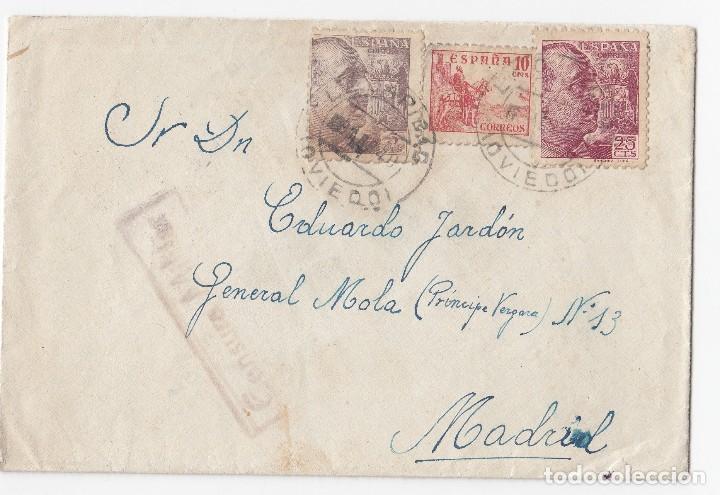 SOBRE DE LA CARIDAD. EL FRANCO. ASTURIAS. 1940. CON RARA CENSURA MILITAR. (Sellos - España - Guerra Civil - De 1.936 a 1.939 - Cartas)