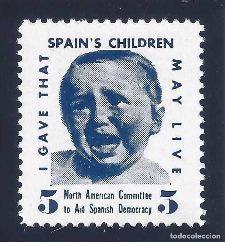 Sellos: VIÑETA. SPAINS CHILDREN.NORTH AMERICAN COMMITTEE TO AID SPANISH DEMOCRACY. MUY ESCASO. LUJO.MNH ** - Foto 1 - 120712351