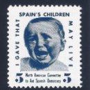 Sellos: VIÑETA. SPAIN'S CHILDREN.NORTH AMERICAN COMMITTEE TO AID SPANISH DEMOCRACY. MUY ESCASO. LUJO.MNH **. Lote 120712351