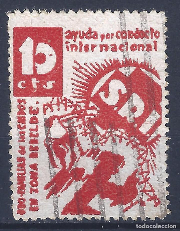 S.R.I. PRO FAMILIAS DE LOS CAÍDOS EN ZONA REBELDE (VARIEDAD...MATASELLOS PARCIAL AL DORSO). LUJO. (Sellos - España - Guerra Civil - Viñetas - Usados)