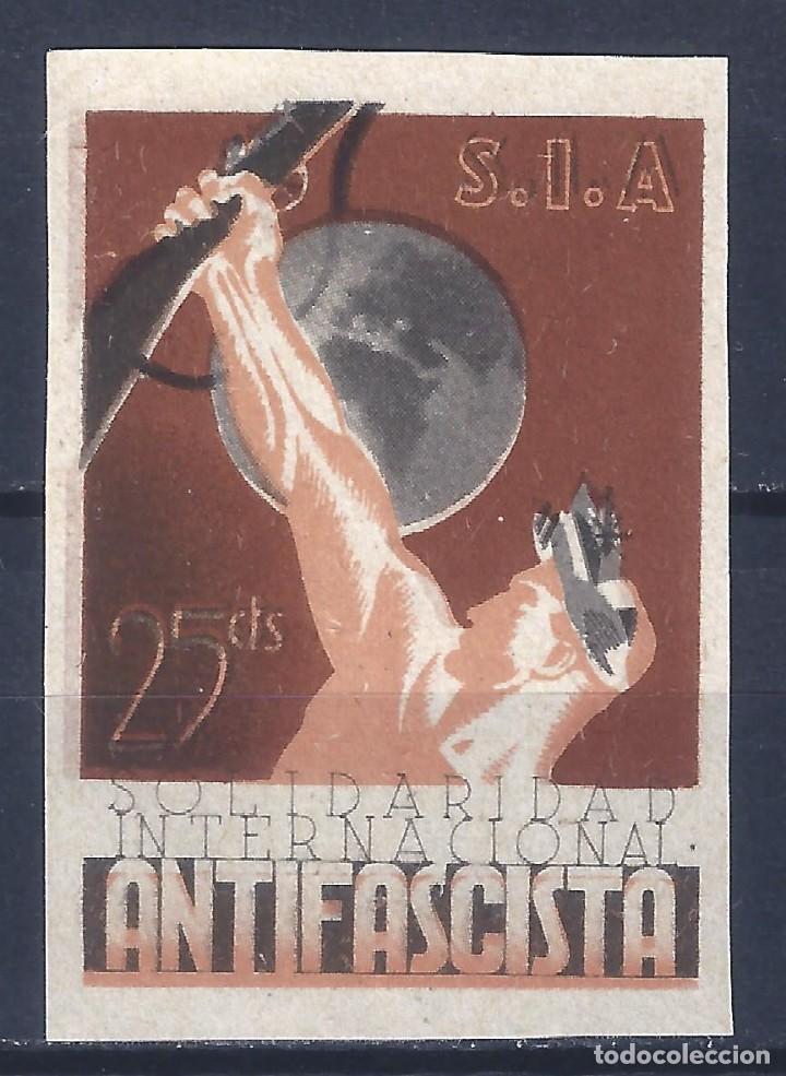 S.I.A. SOLIDARIDAD INTERNACIONAL ANTIFASCISTA (VARIEDAD...SIN DENTAR). MNH ** (Sellos - España - Guerra Civil - Viñetas - Nuevos)