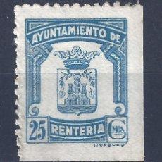 Sellos: AYUNTAMIENTO DE RENTERÍA 25 CÉNTIMOS. ESCASO. MH *. Lote 120779435