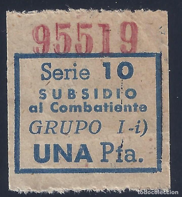 VIÑETA SUBSIDIO AL COMBATIENTE. SERIE 10. GRUPO I-I. UNA PESETA. (Sellos - España - Guerra Civil - Viñetas - Usados)