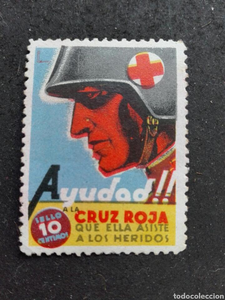 477 SELLO VIÑETA GUERRA CIVIL CRUZ ROJA (Sellos - España - Guerra Civil - Viñetas - Nuevos)