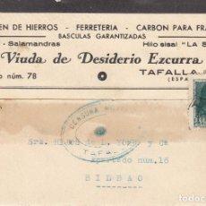 Sellos: CARTA: 1938 TAFALLA - BILBAO / VIUDA DE DESIDERIO EZKURRA. Lote 120899475