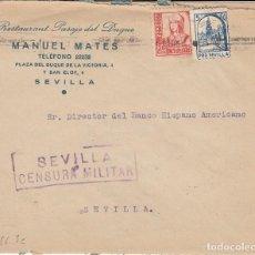 Sellos: CARTA: 1937 SEVILLA / RESTAURANTE PASAJE DEL DUQUE - MANUEL MATES. Lote 120899707
