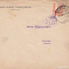 Sellos: CARTA: 1938 SEVILLA (BANCO ALEMAN TRANSATLANTICO - BILBAO ( BANCO GUIPUZCOANO ) / SELLO PRO-SEVILLA. Lote 120917311