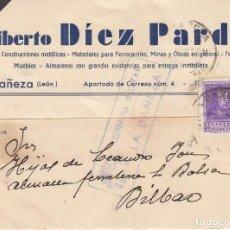 Timbres: TARJETA: 1939 LA BAÑEZA (LIBERTO DIEZ PARDO) - BILBAO. Lote 121021907