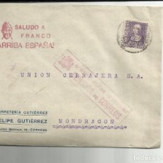Sellos: CIRCULADA DE CORDOBA A MONDRAGON GUIPUZCOA CON CENSURA MILITAR. Lote 121090135